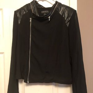 Super Cute Sheer Jacket with Leather Details!